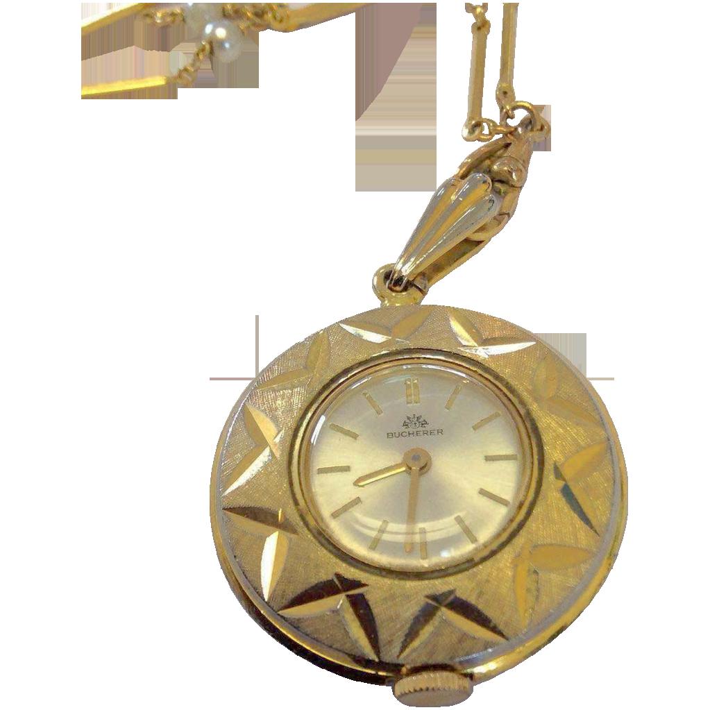 """Vintage Bucherer Pendant Watch on 29"""" Necklace"""