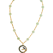 Serpentine bead necklace with cloisonne snake pendent