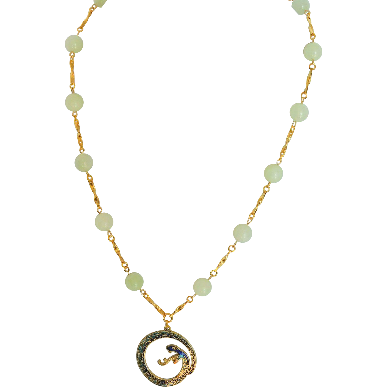 Serpentine and snake necklace