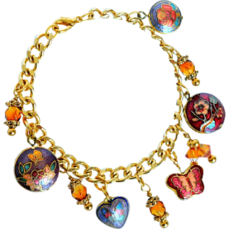 Cloisonne puff charm bracelet with Swarovski crystals