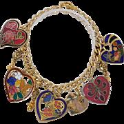 Cloisonne heart charm bracelet