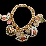 Cloisonne charm bracelet