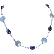 Cultured fresh water coin pearls and natural Amethyst gem necklace