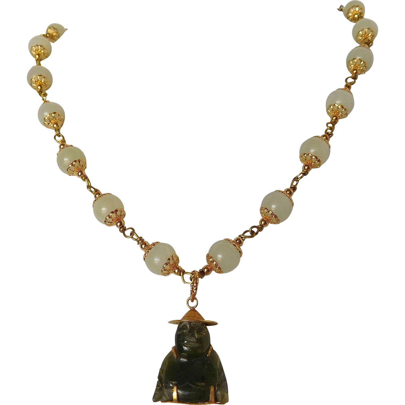 Serpentine and nephrite jade Budda Necklace
