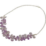 Amethyst tear drop and sterling silver necklace