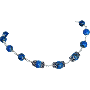 Lapis Lazuli bead necklace with sterling silver metal