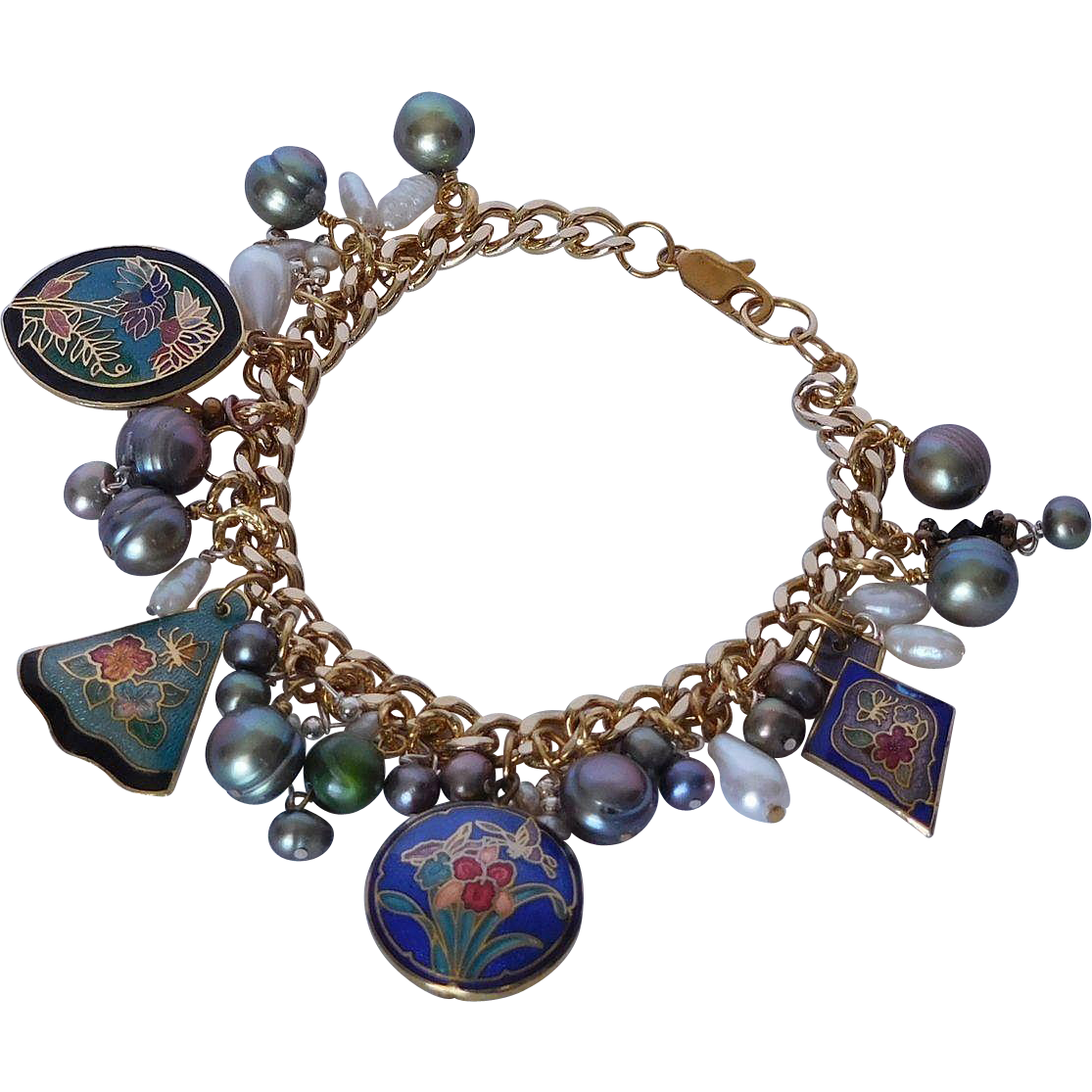 Cloisonne and cultured fresh water pearl charm bracelet