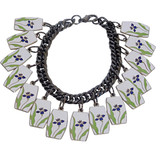 "Enamel ""Iris"" charm bracelet"