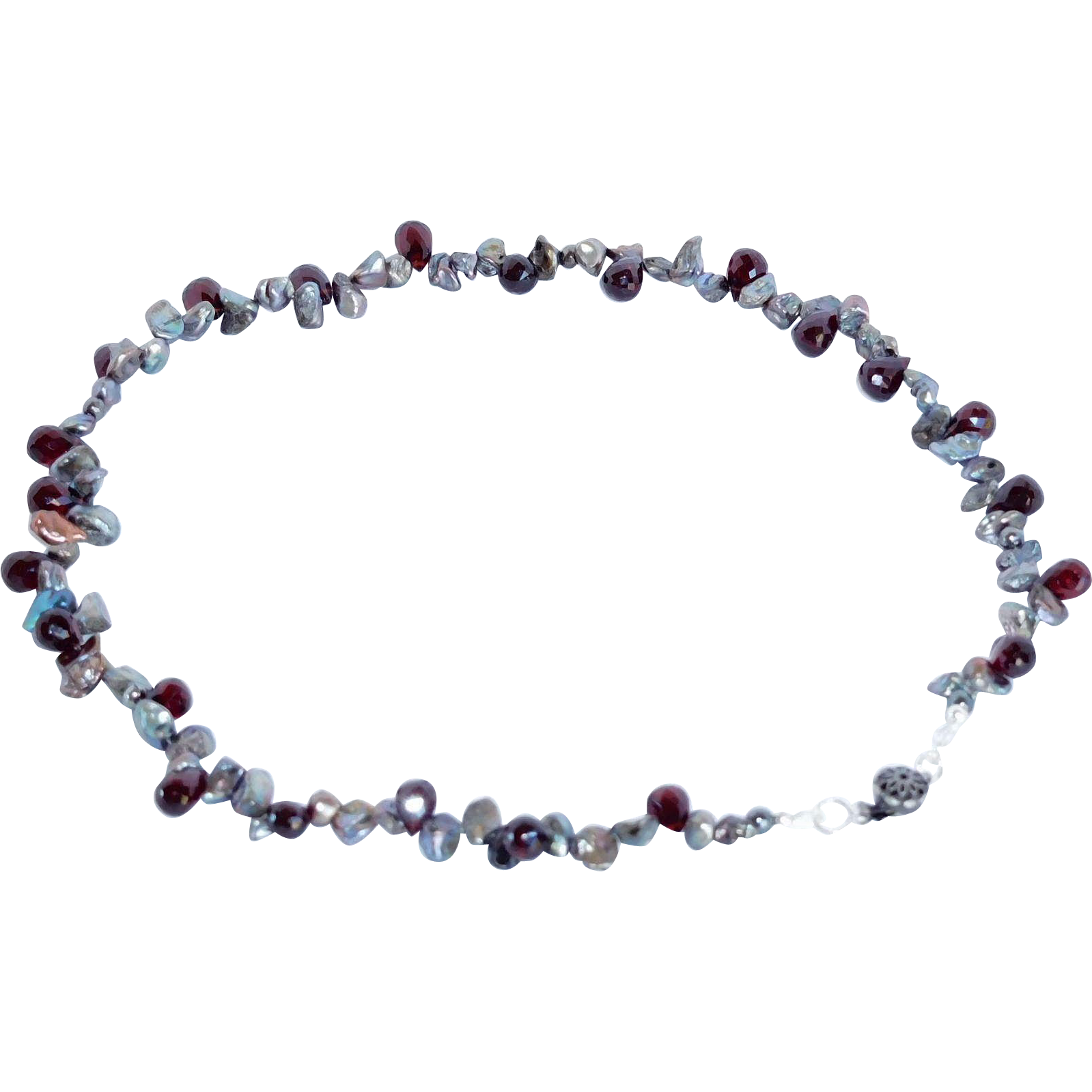 Fresh water cultured Keishi pearls and natural garnet necklace