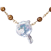 "Cultured fresh water ""second seed"" Keishi pearl necklace"