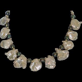 Natural white super large petal pearl necklace