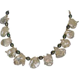 Natural white cultured fresh water Keishi pearl necklace