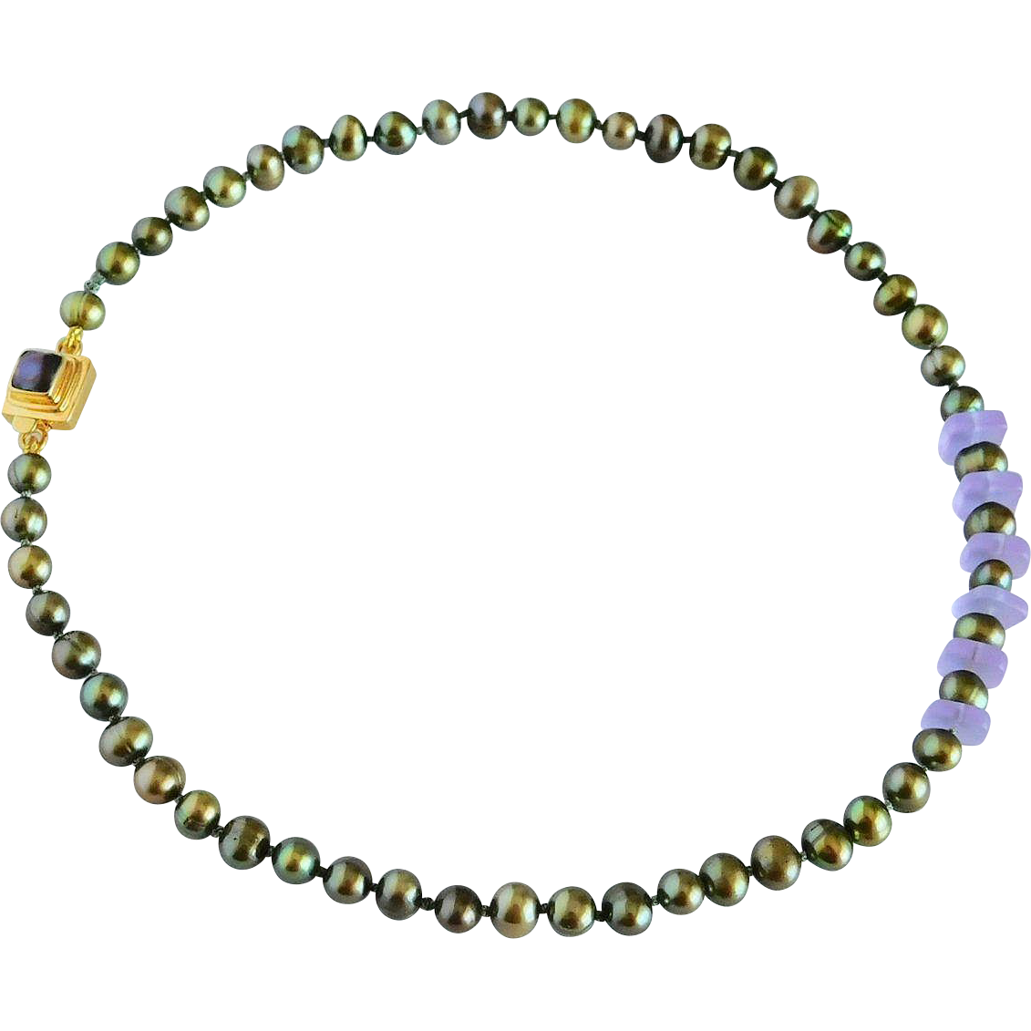 Fresh water cultured pearl necklace with sea glass beads