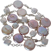Natural pink cultured fresh water coin pearl necklace