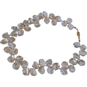 Natural ivory white cultured fresh water Keishi pearl necklace