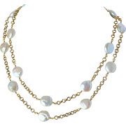 Cultured fresh water coin pearl necklace
