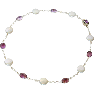 Natural lavender Amethyst gem stones and fresh water cultured pearl necklace