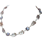 Natural lavender Amethyst gems and natural pink fresh water cultured pearl necklace