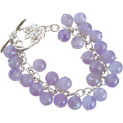 Amethyst bead and sterling silver bracelet
