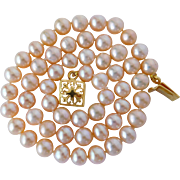 Peaches and cream fresh water cultured pearl necklace