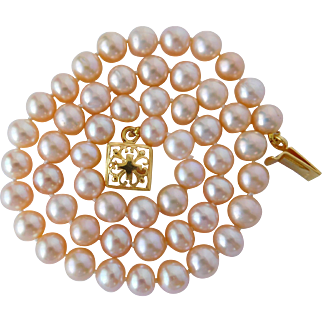 Cultured fresh water pearl necklace with vermeil clasp