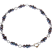Titanium metal and fresh water cultured pearls contemporary necklace