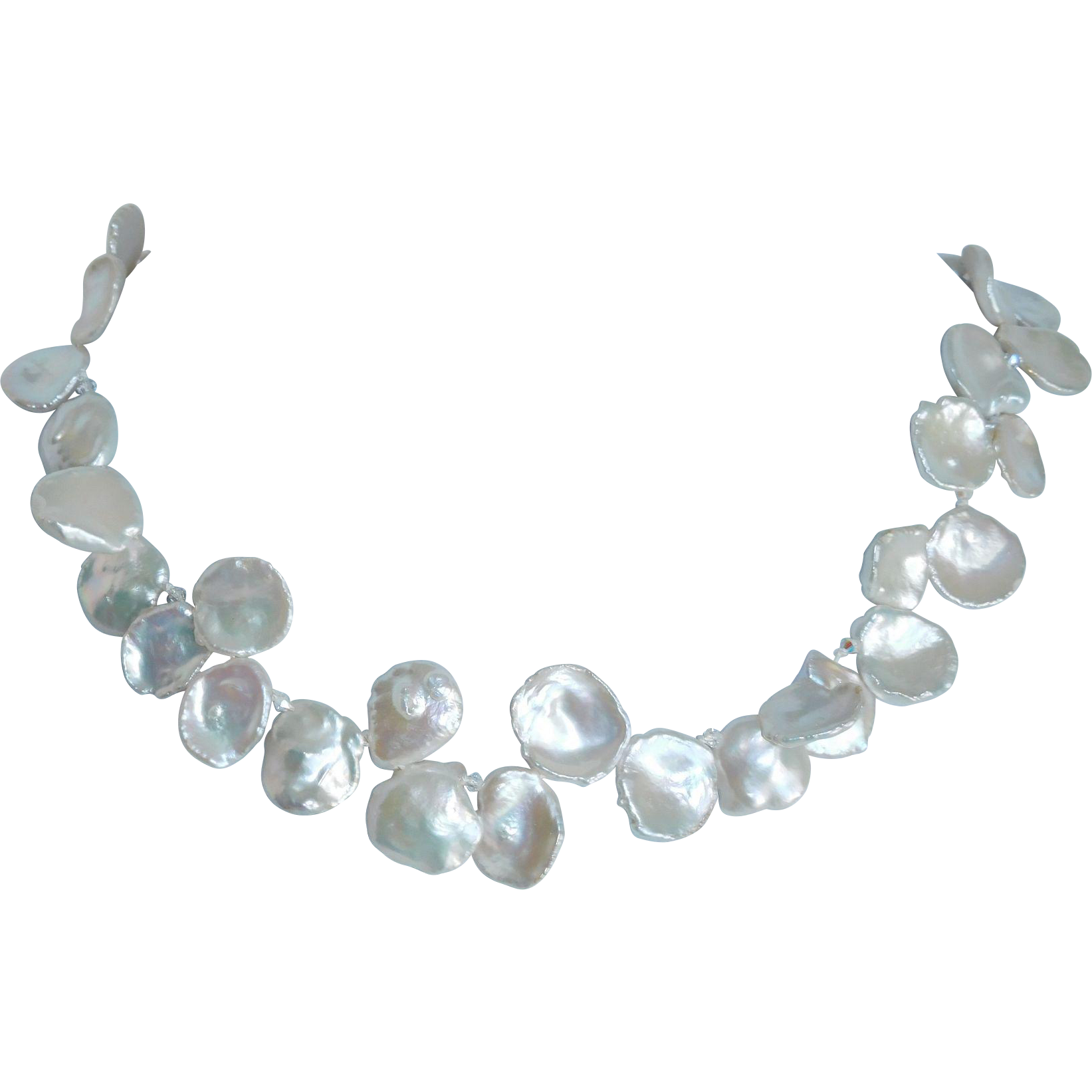 Petal pearls and sterling silver necklace
