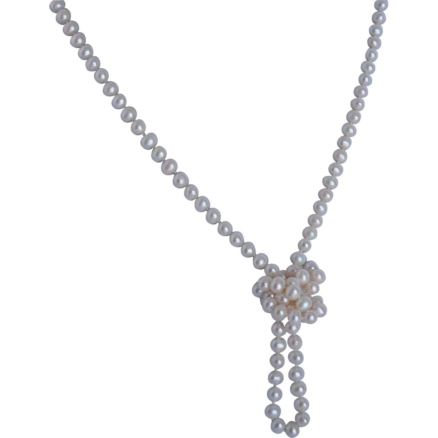 Opera length continuous strand cultured fresh water pearl necklace