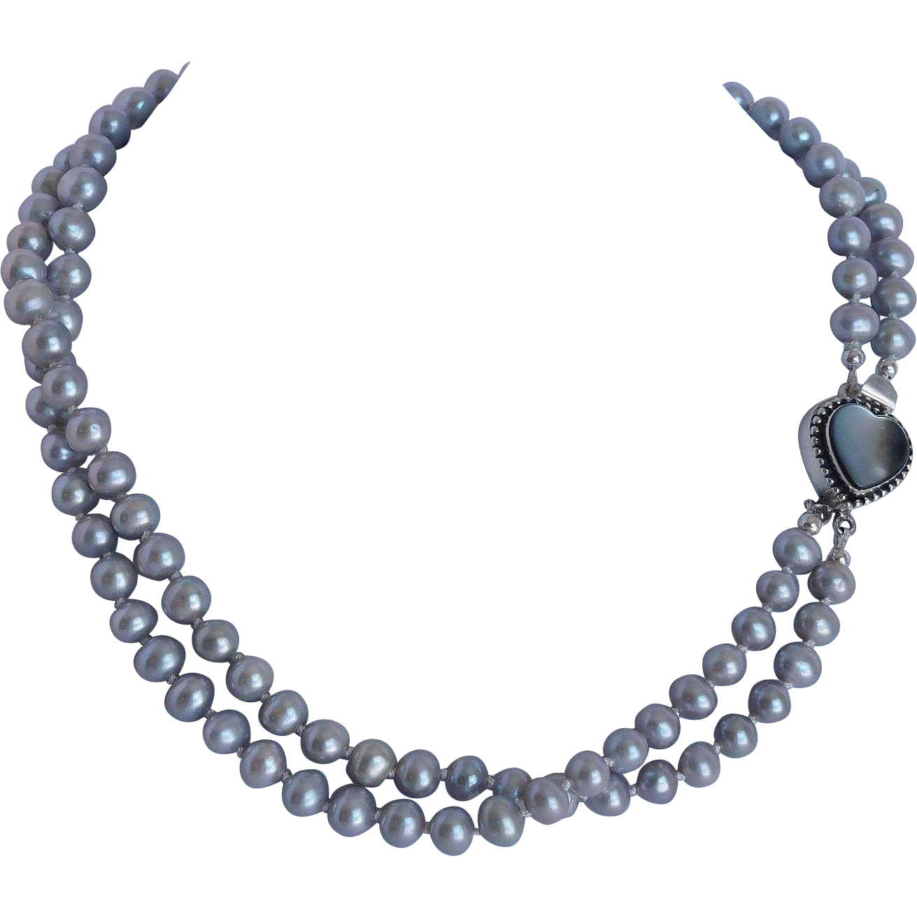 """Wedding Jewelry """"cross my heart"""" cultured pearl necklace"""