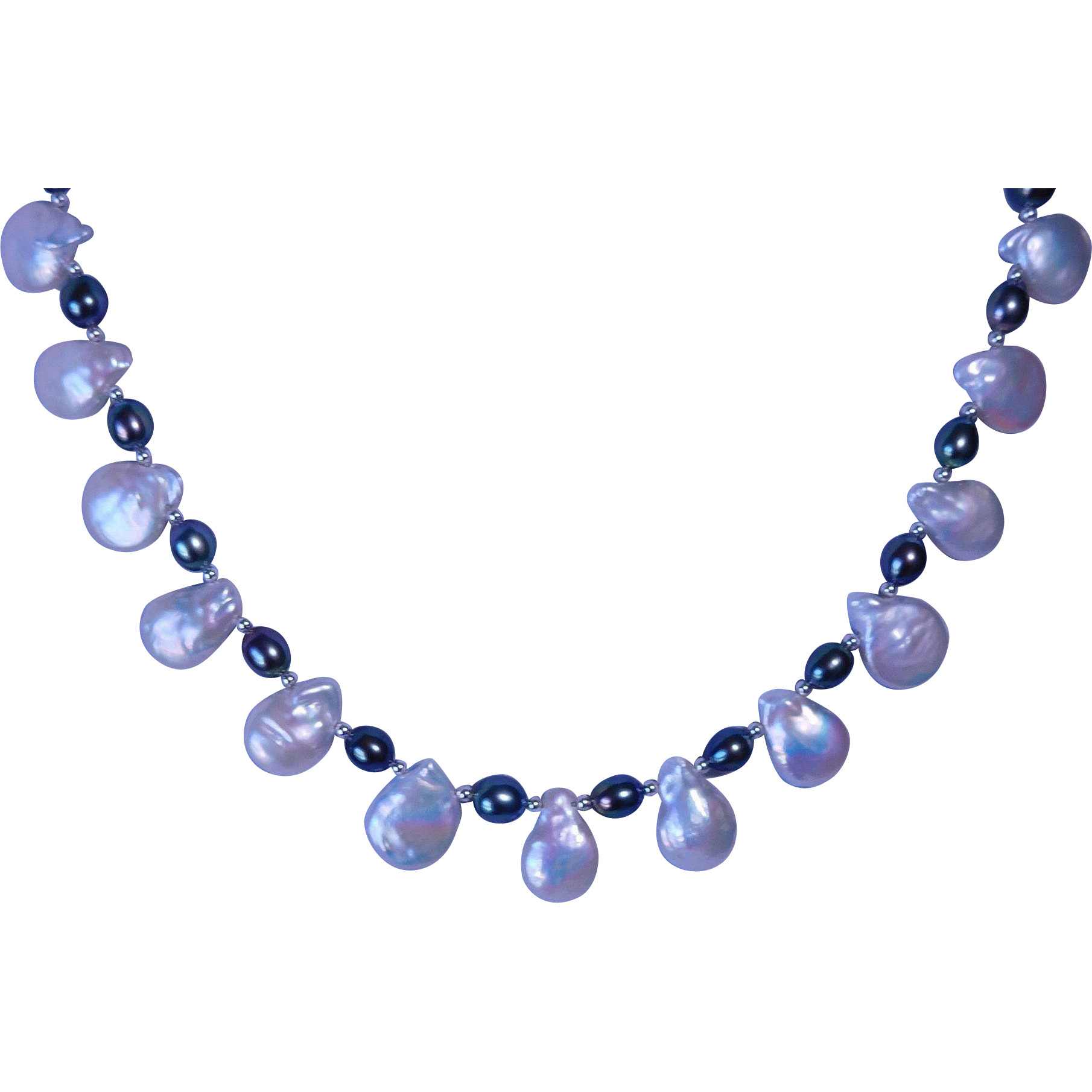 Cultured fresh water tear drop pearl necklace