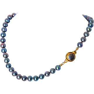 Peacock blue cultured fresh water pearl necklace