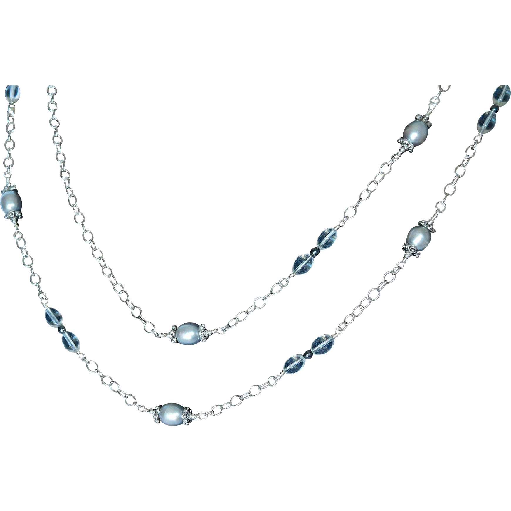 Pearls, crystals and sterling silver necklace
