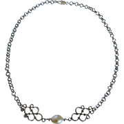Cultured fresh water pearl solitaire and rhodium plate chain necklace
