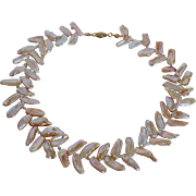 Pink Angle fresh water cultured Keishi pearl necklace