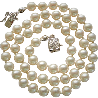 """Wedding jewelry """"White Lotus"""" cultured fresh water pearl necklace"""
