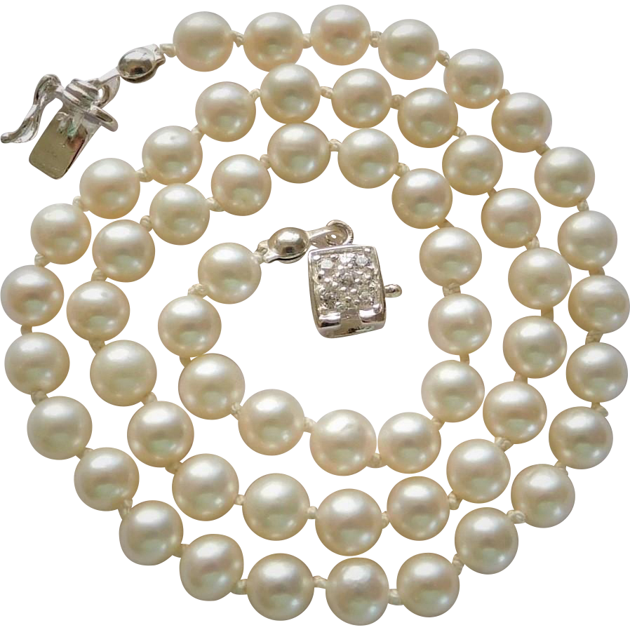 "Wedding jewelry ""White Lotus"" cultured fresh water pearl necklace"