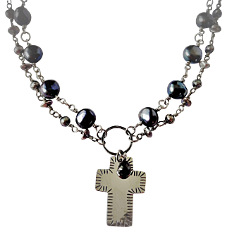 Cultured fresh water pearls, sterling silver and garnet necklace