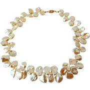 Bridal jewelry ivory white petal pearl necklace