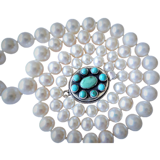 Graduated fresh water pearls and Turquoise necklace