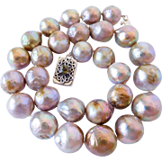 Natural lavender Flame Ball pearl necklace