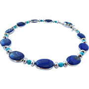 Lapis bead and sterling silver choker necklace