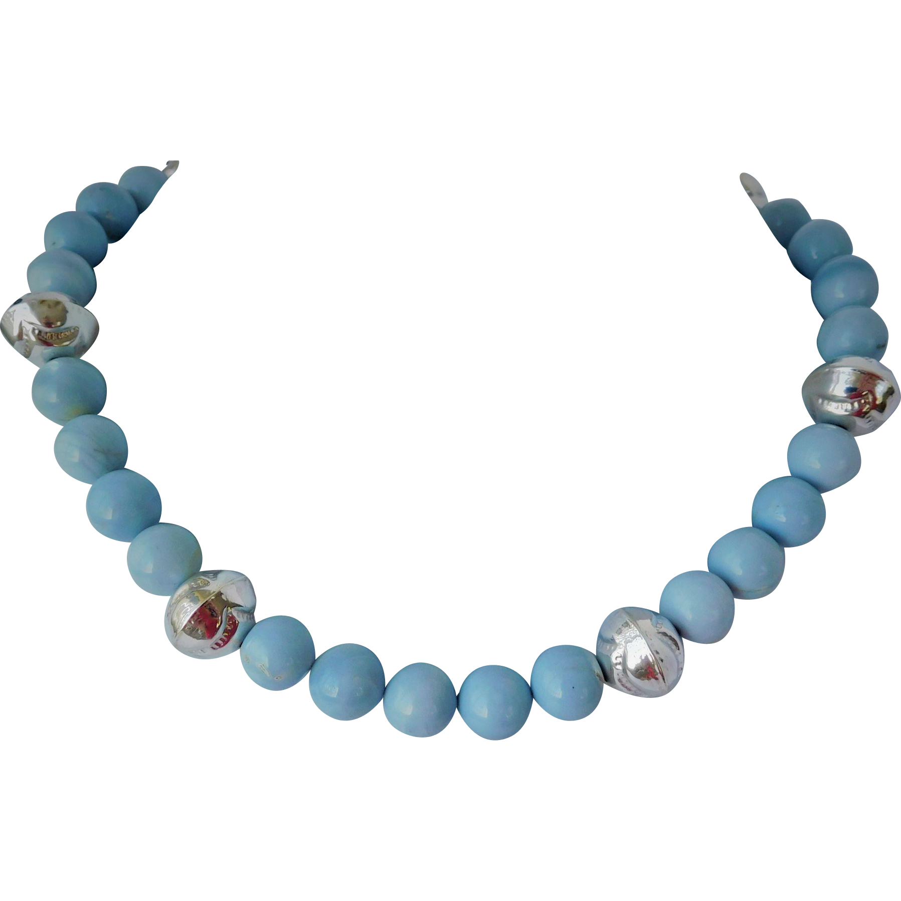 Blue opal and sterling silver necklace
