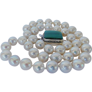 Fresh water pearl necklace with Malacite gem clasp