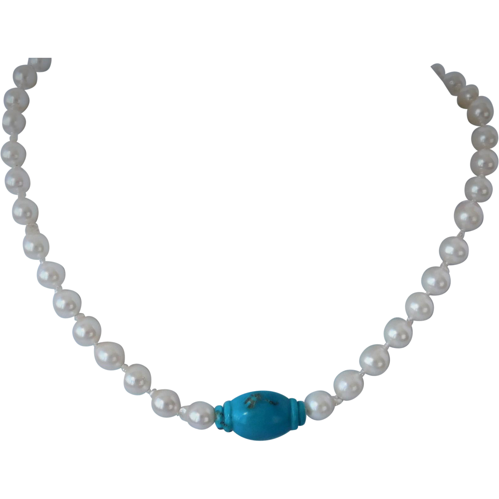 Genuine Akoya pearls and Sleeping Beauty turquoise necklace