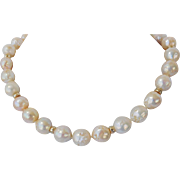 Golden peaches fresh water pearl necklace
