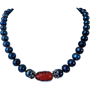 Deep blue fresh water pearl necklace