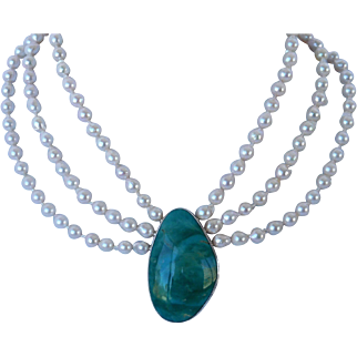 Triple strand Akoya pearl and turquoise gem necklace