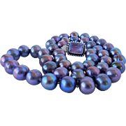 Violet fresh water cultured pearls and amethyst necklace
