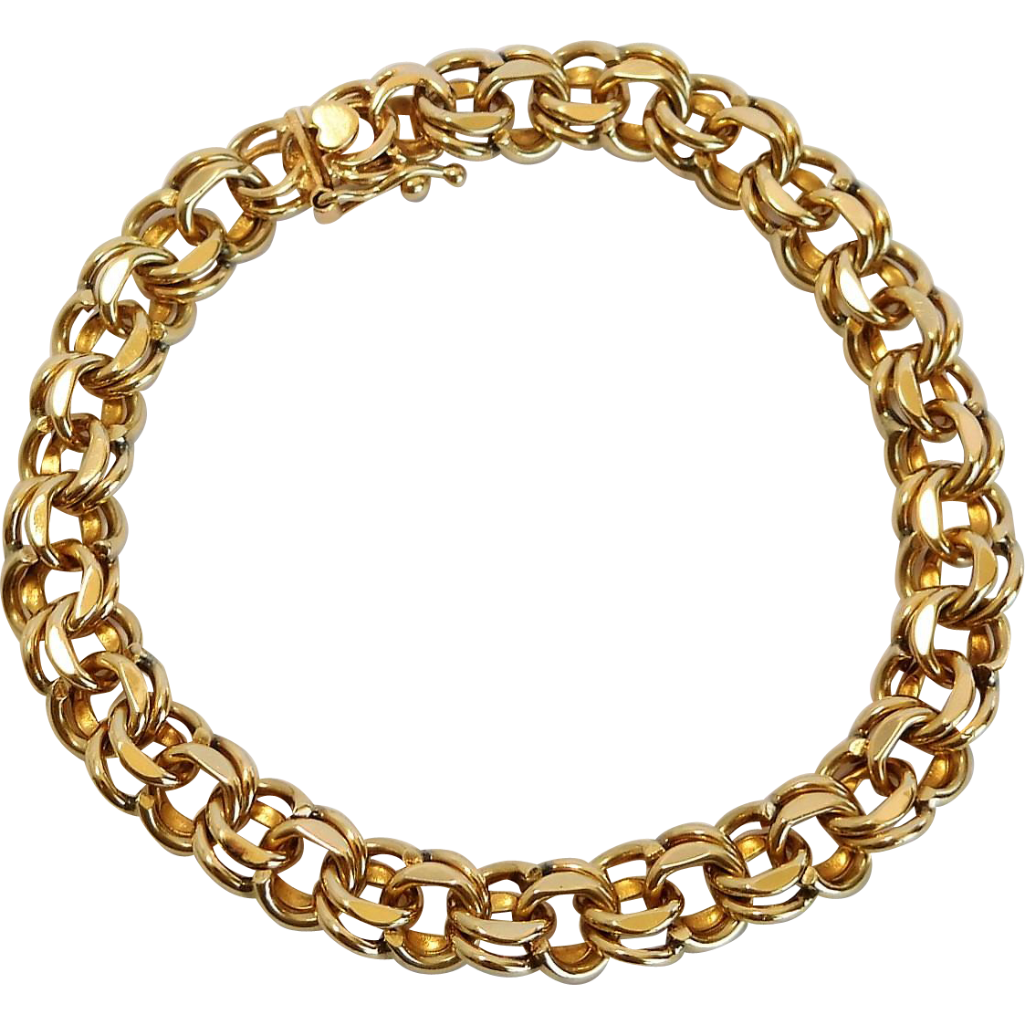 14 K gold double link charm bracelet from the 1960's