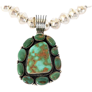 Navajo pearls and Pilot Mountain turquoise necklace